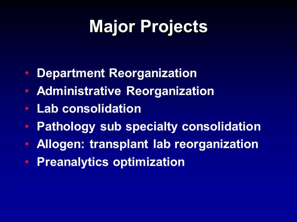 Major Projects Department Reorganization Administrative Reorganization