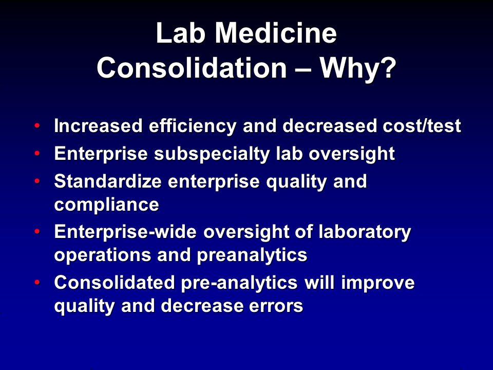 Lab Medicine Consolidation – Why