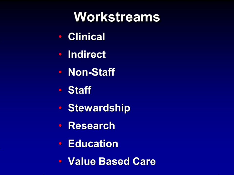 Workstreams Clinical Indirect Non-Staff Staff Stewardship Research