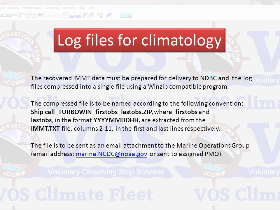 Log files for climatology