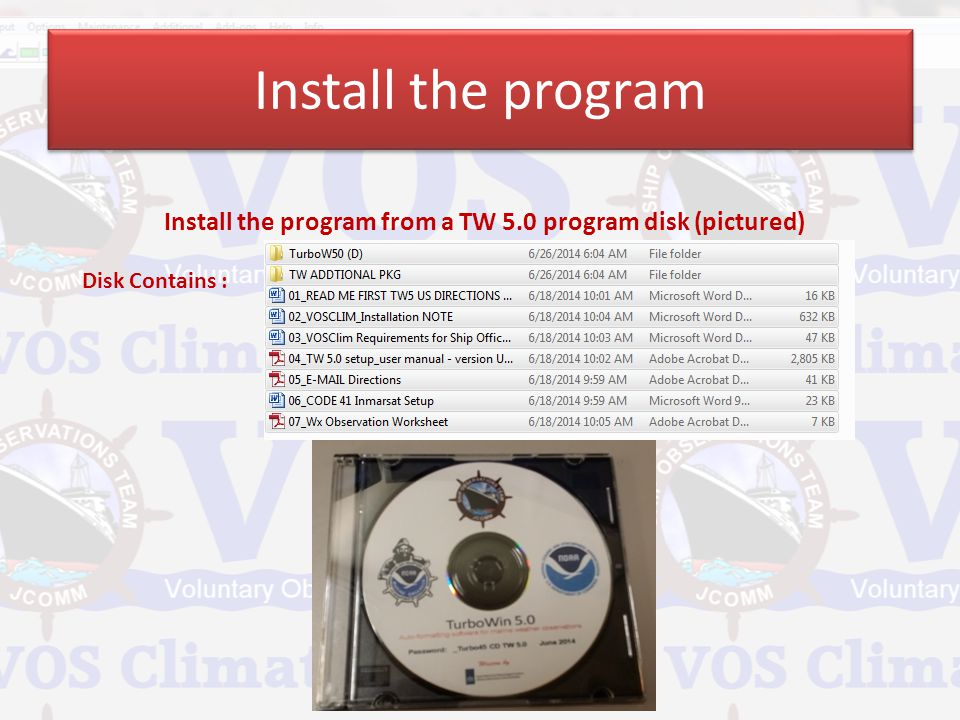 Install the program from a TW 5.0 program disk (pictured)
