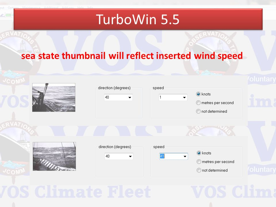 TurboWin 5.5 sea state thumbnail will reflect inserted wind speed