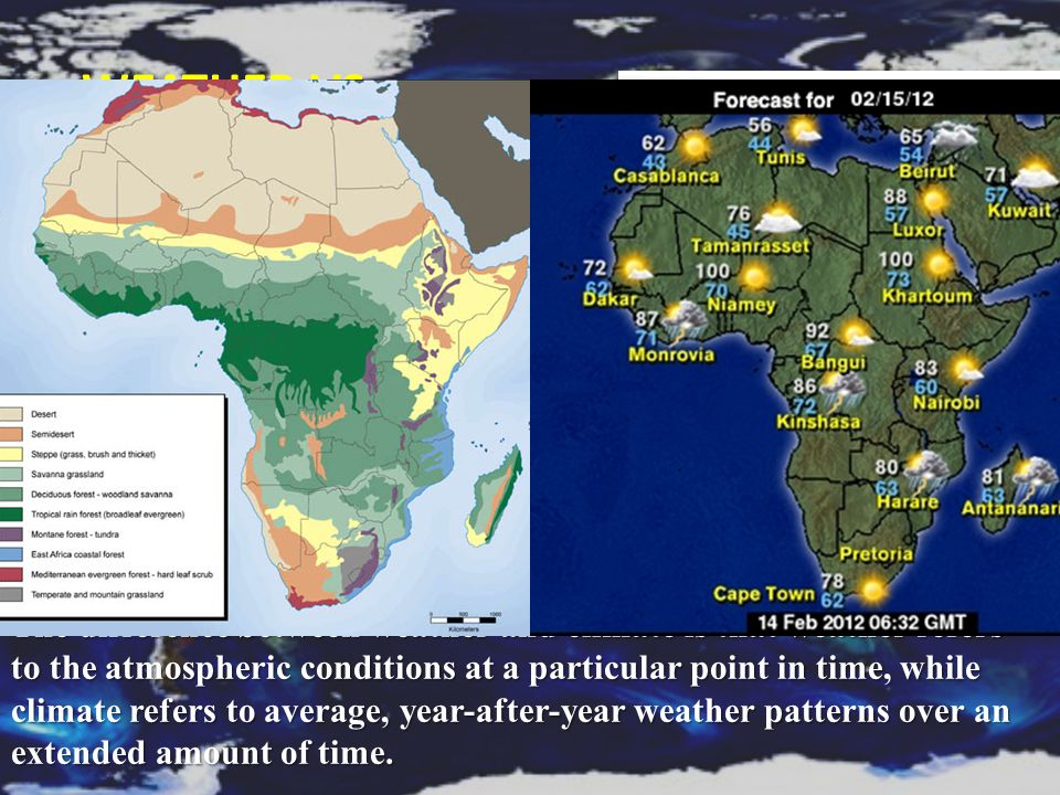 Weather Vs. Climate Weather The condition of Earth's atmosphere