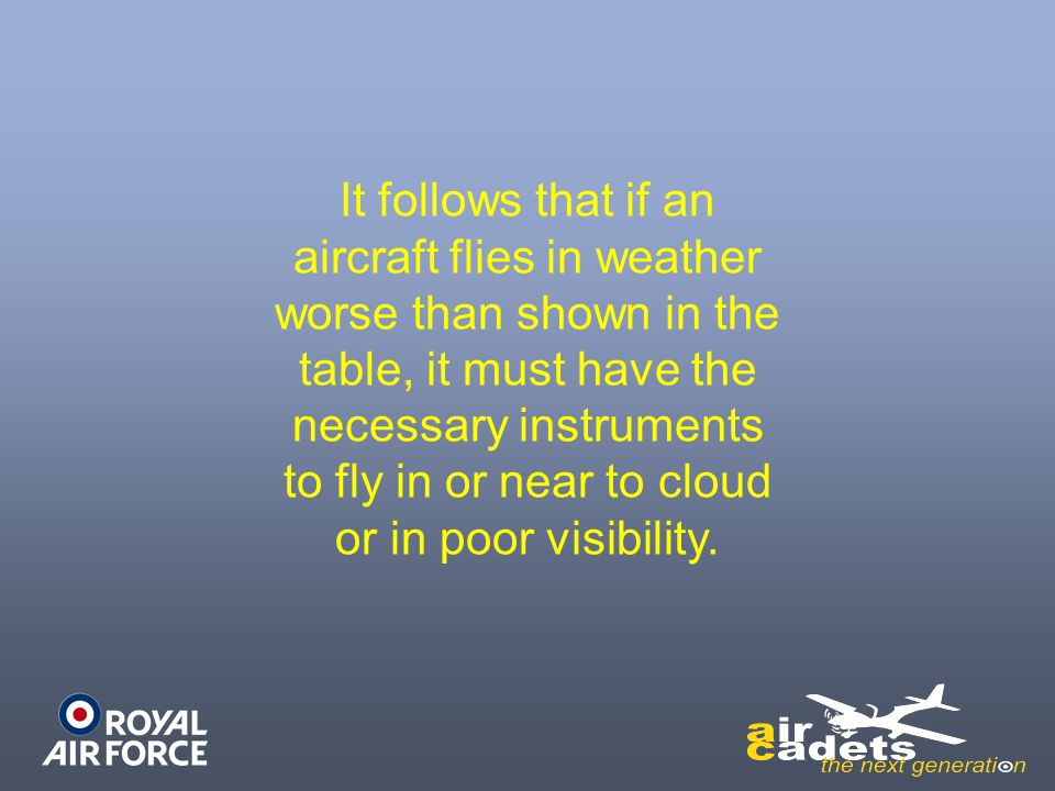 It follows that if an aircraft flies in weather worse than shown in the table, it must have the necessary instruments to fly in or near to cloud or in poor visibility.
