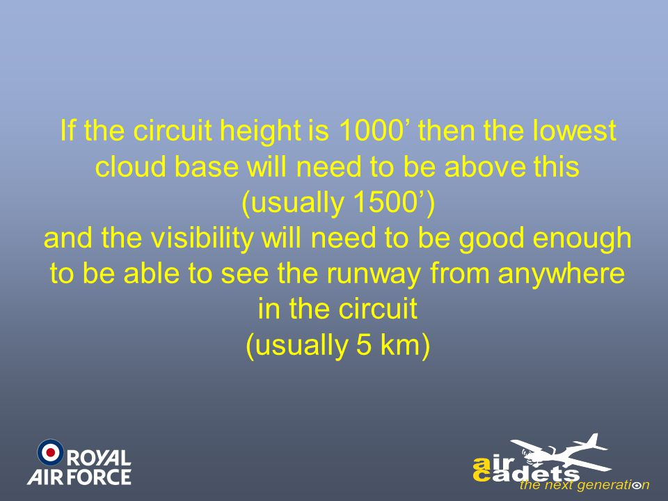 If the circuit height is 1000' then the lowest cloud base will need to be above this