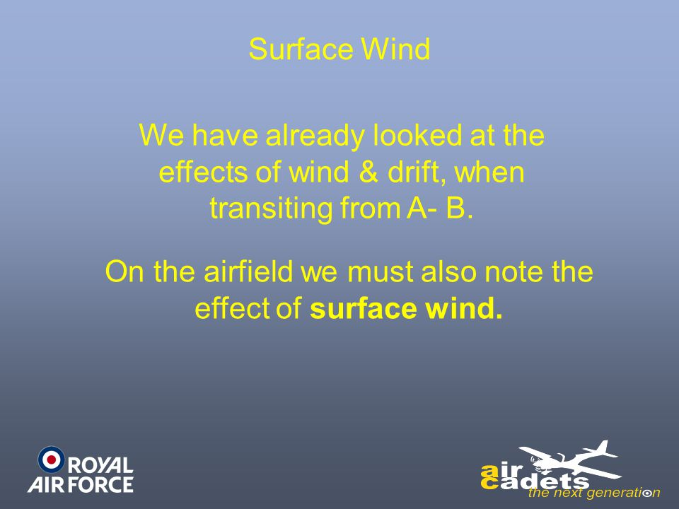 On the airfield we must also note the effect of surface wind.
