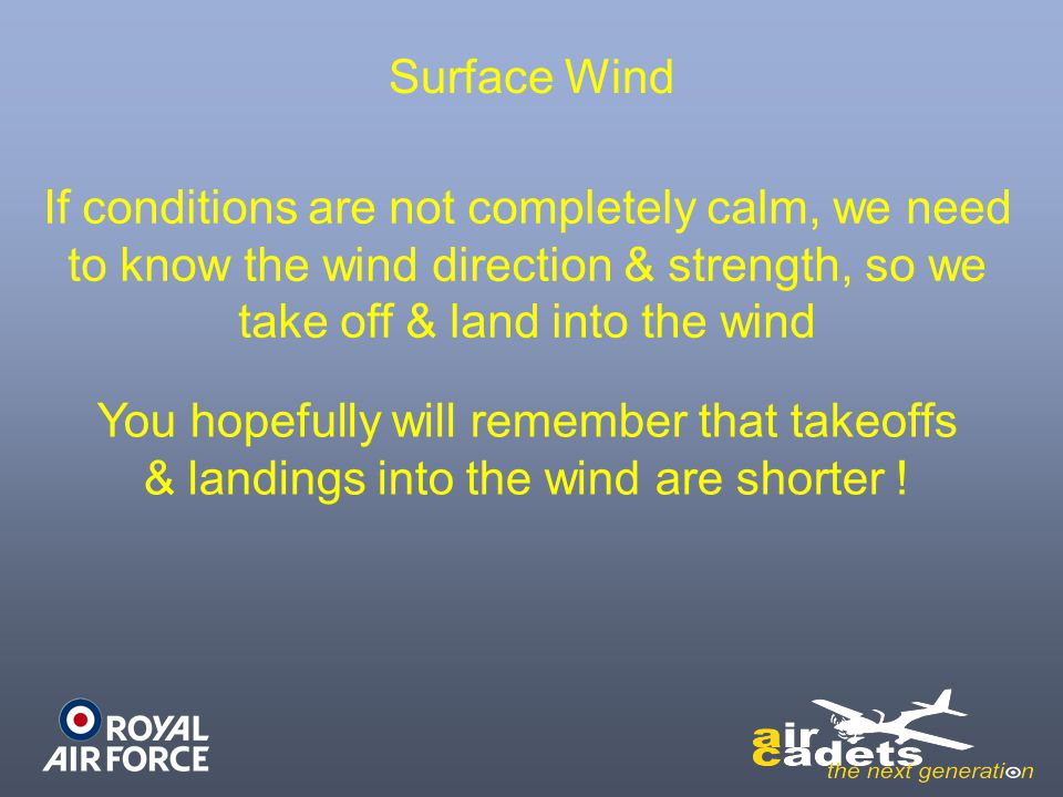 Surface Wind If conditions are not completely calm, we need to know the wind direction & strength, so we take off & land into the wind.
