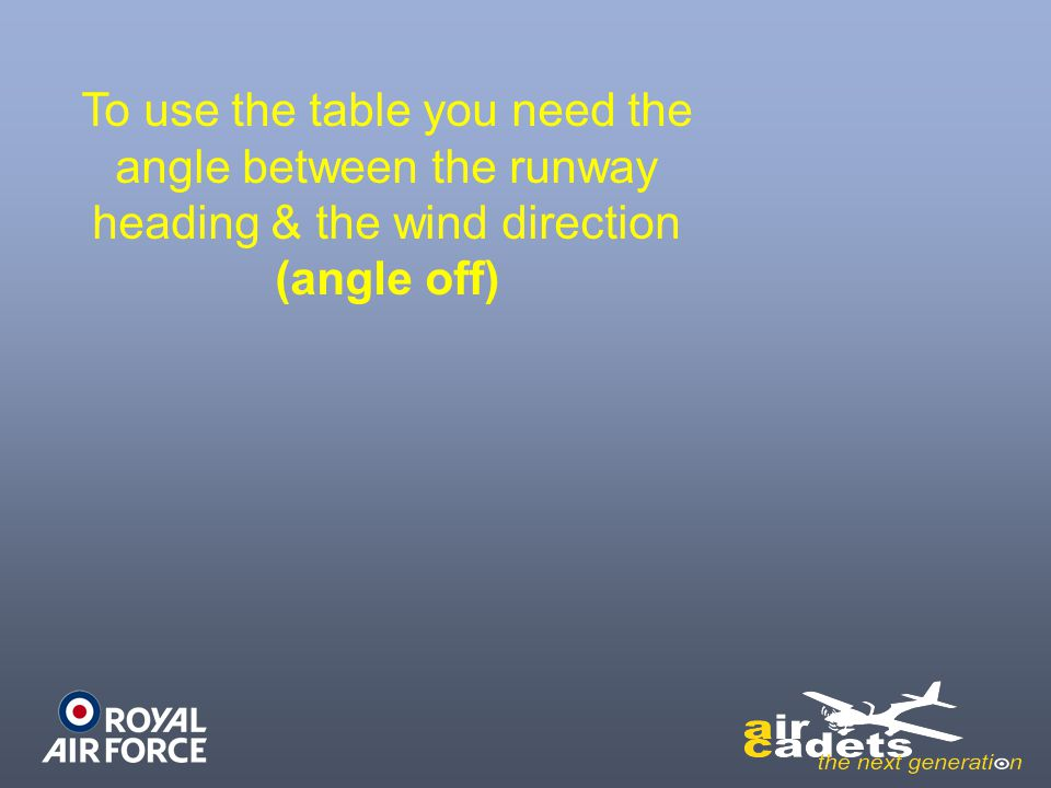 To use the table you need the angle between the runway heading & the wind direction (angle off)