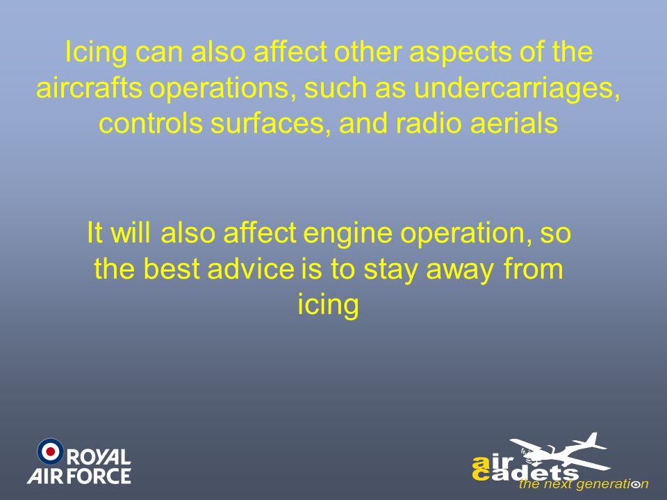 Icing can also affect other aspects of the aircrafts operations, such as undercarriages, controls surfaces, and radio aerials