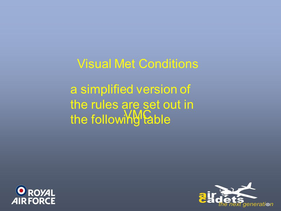 Visual Met Conditions a simplified version of the rules are set out in the following table VMC