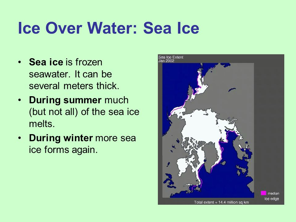 Ice Over Water: Sea Ice Sea ice is frozen seawater. It can be several meters thick. During summer much (but not all) of the sea ice melts.