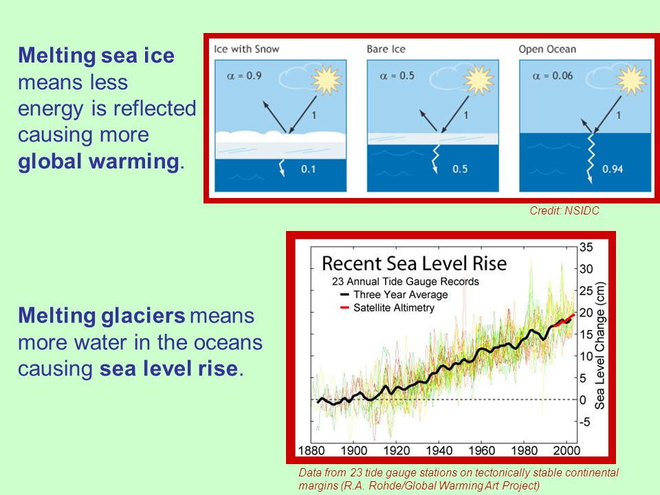 Melting sea ice means less energy is reflected causing more global warming.