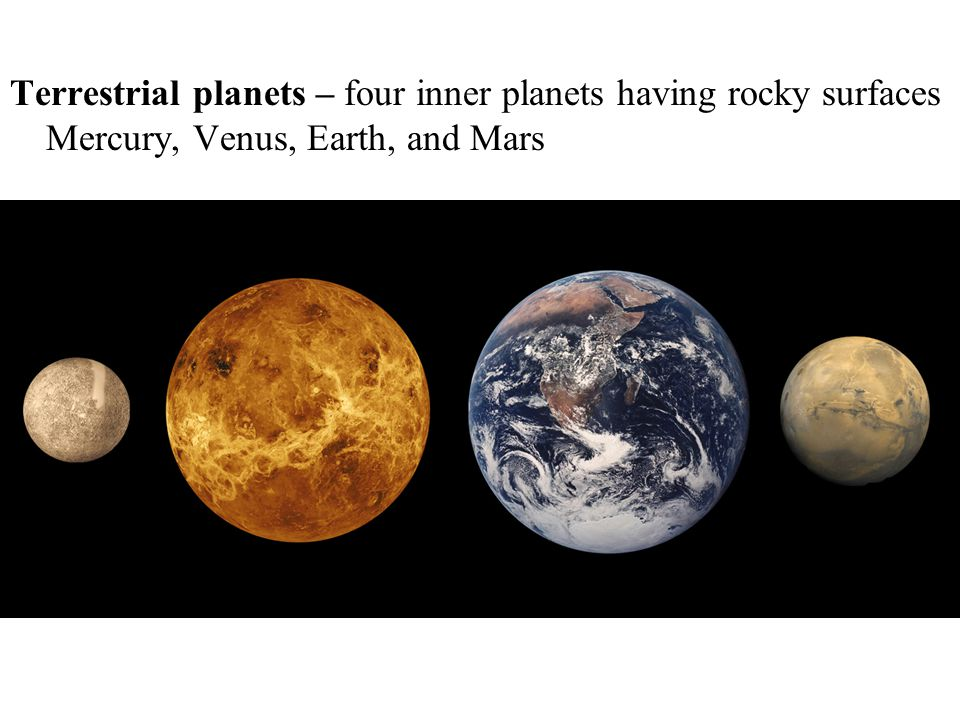 Terrestrial planets – four inner planets having rocky surfaces Mercury, Venus, Earth, and Mars