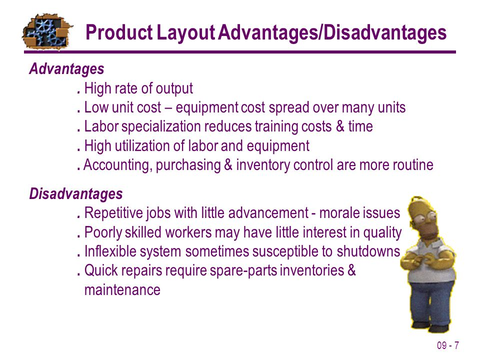 Product Layout Advantages/Disadvantages