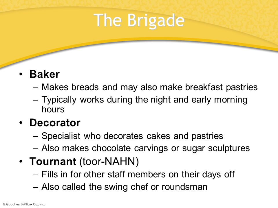 The Brigade Baker Decorator Tournant (toor-NAHN)