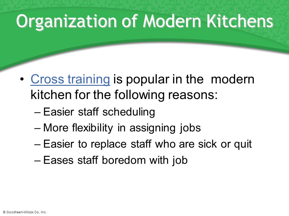 Organization of Modern Kitchens