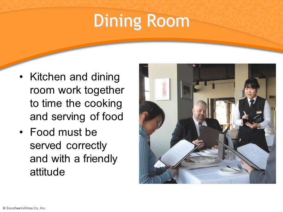 Dining Room Kitchen and dining room work together to time the cooking and serving of food.