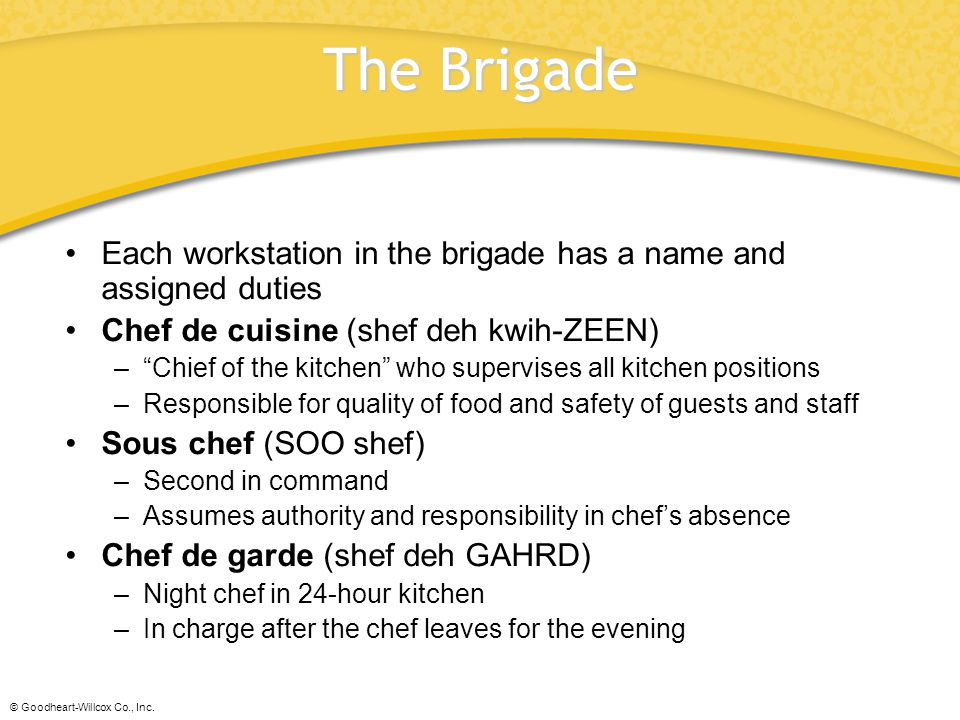 The Brigade Each workstation in the brigade has a name and assigned duties. Chef de cuisine (shef deh kwih-ZEEN)