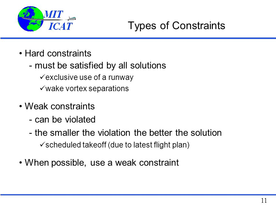 Types of Constraints Hard constraints