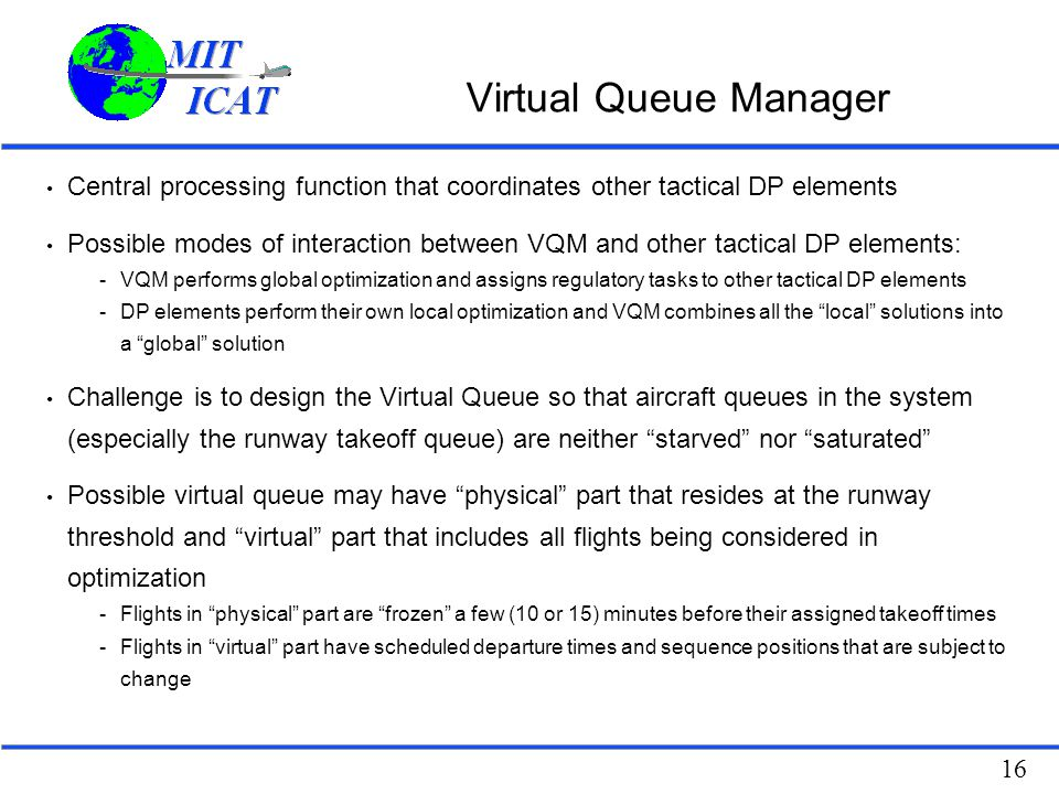 Virtual Queue Manager Central processing function that coordinates other tactical DP elements.