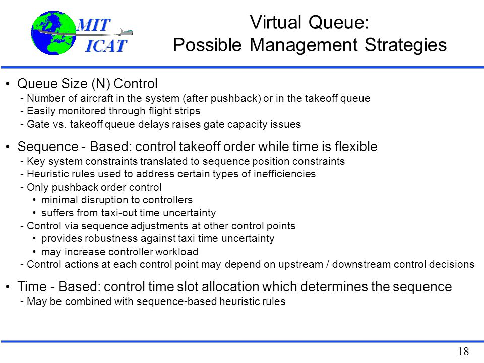 Virtual Queue: Possible Management Strategies
