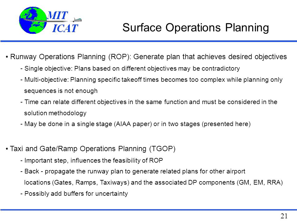 Surface Operations Planning
