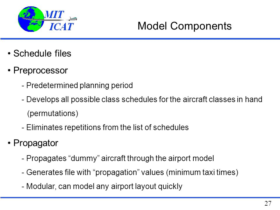 Model Components Schedule files Preprocessor Propagator