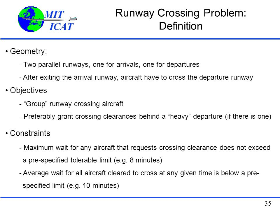 Runway Crossing Problem: Definition