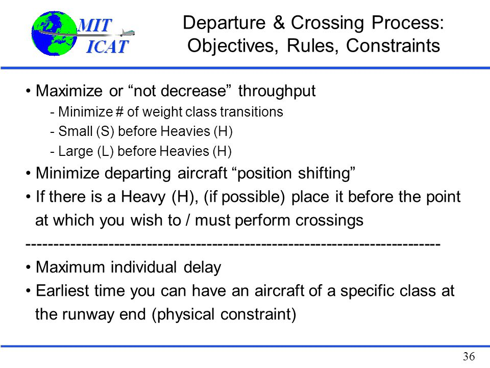 Departure & Crossing Process: Objectives, Rules, Constraints
