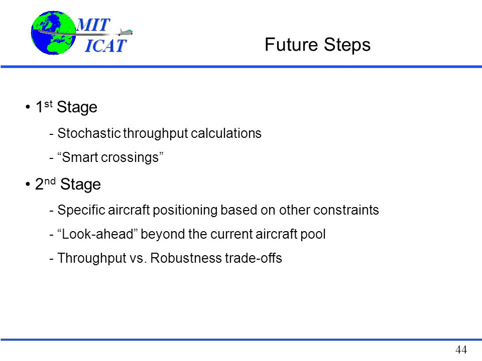 Future Steps 1st Stage 2nd Stage Stochastic throughput calculations