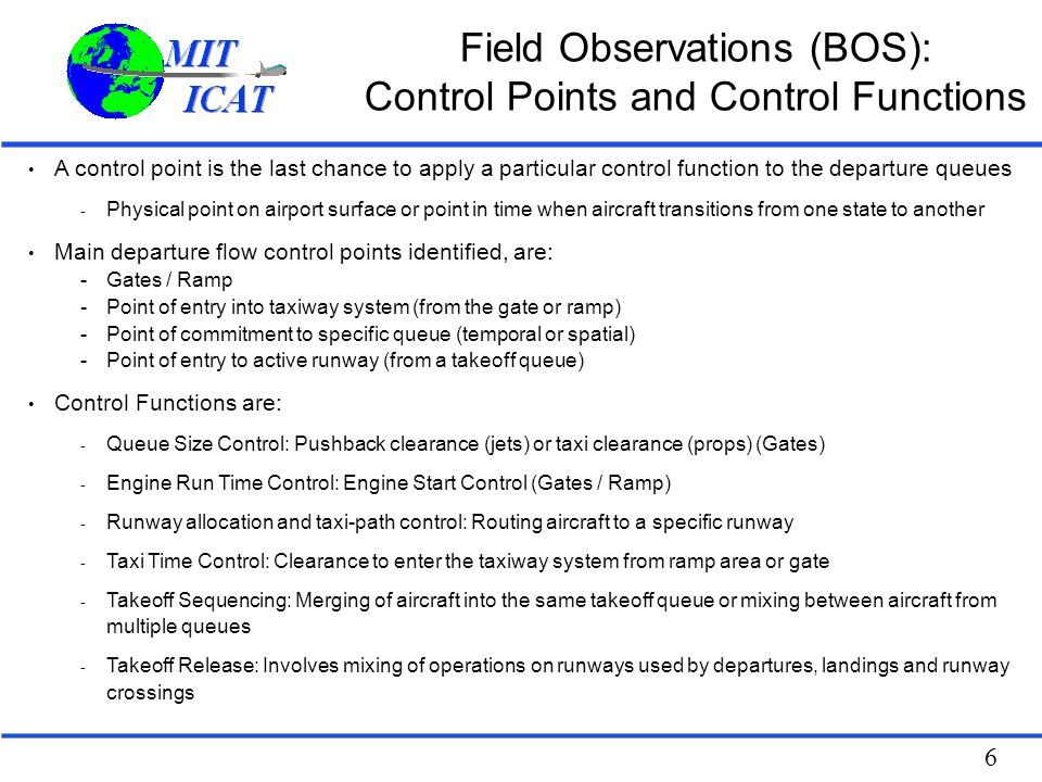 Field Observations (BOS): Control Points and Control Functions