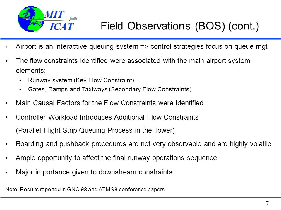 Field Observations (BOS) (cont.)