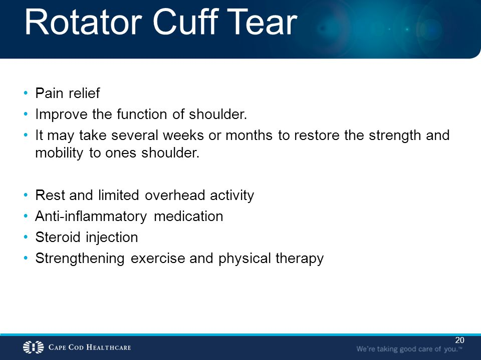 Rotator Cuff Tear Pain relief Improve the function of shoulder.