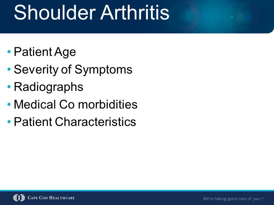 Shoulder Arthritis Patient Age Severity of Symptoms Radiographs