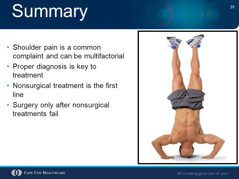 Summary Shoulder pain is a common complaint and can be multifactorial