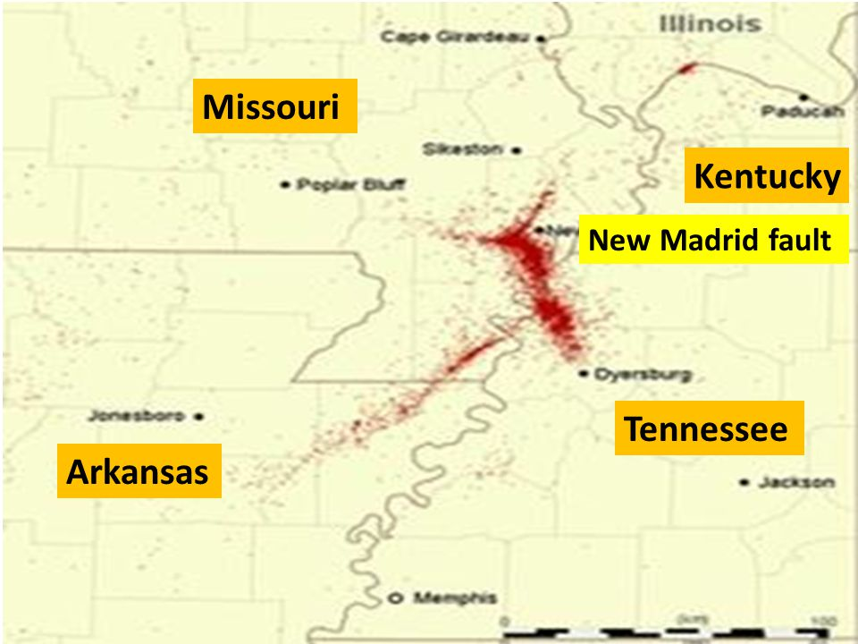 Missouri Kentucky Tennessee Arkansas New Madrid fault