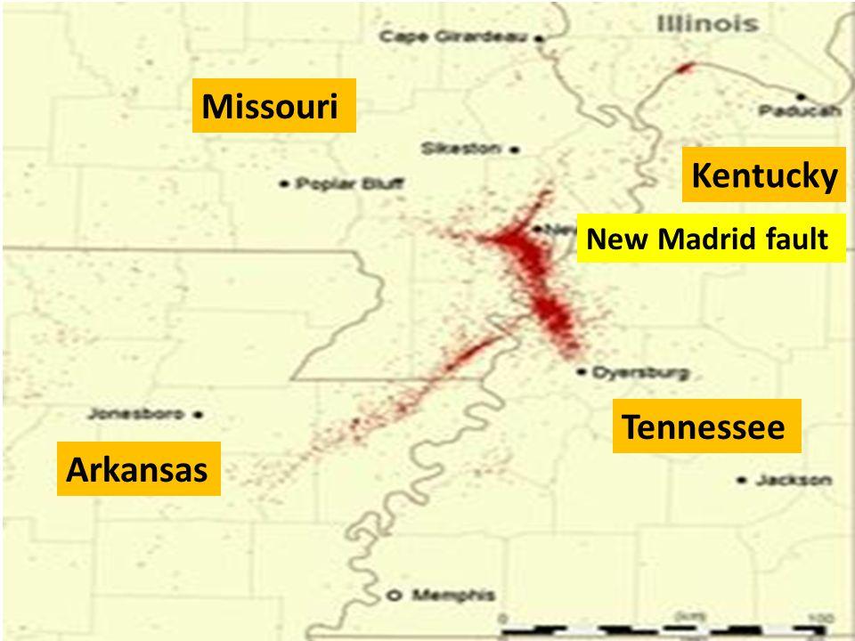 Missouri Kentucky Tennessee Arkansas New Madrid fault