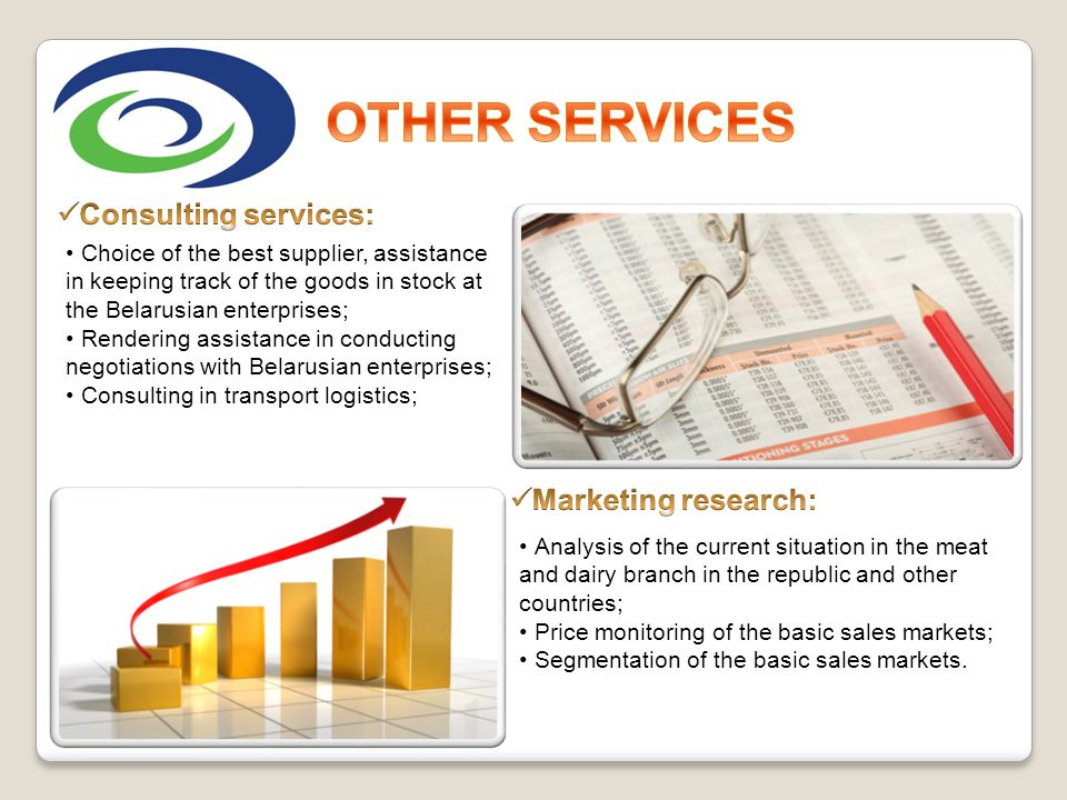 OTHER SERVICES Consulting services: Marketing research: