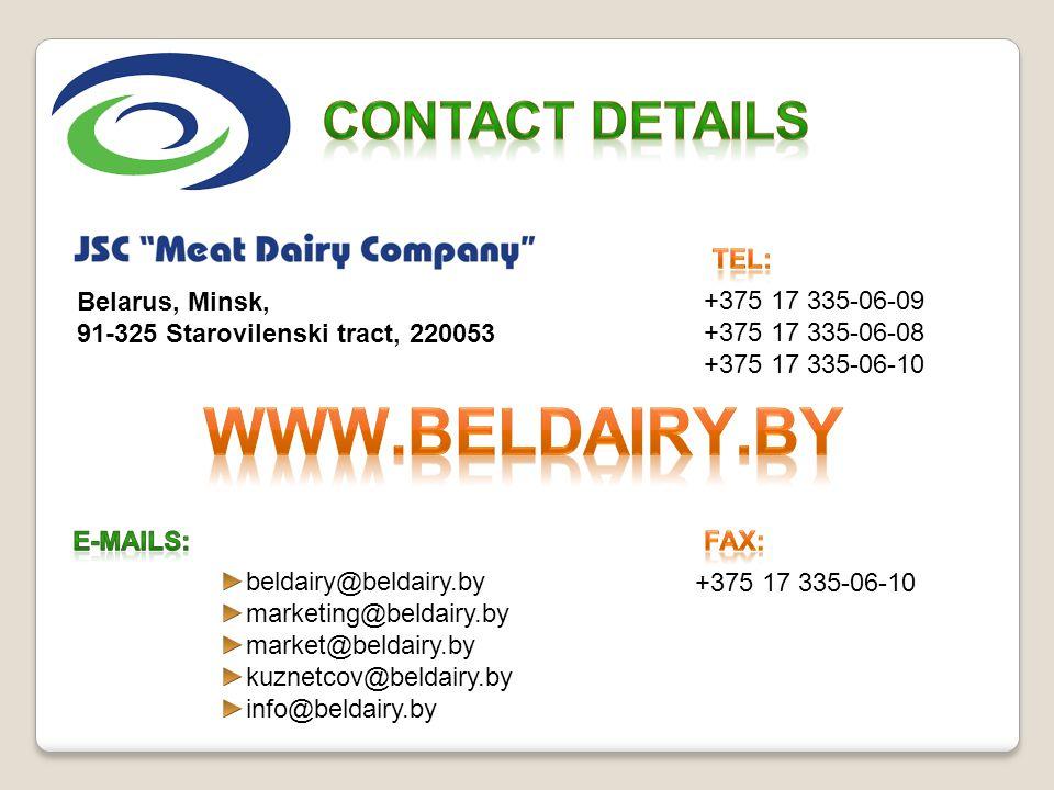 www.beldairy.by Contact details Tel: Belarus, Minsk,