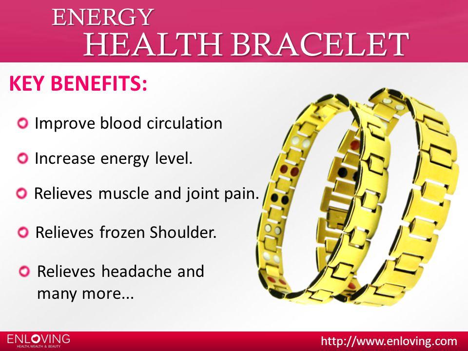 HEALTH BRACELET ENERGY KEY BENEFITS: Improve blood circulation