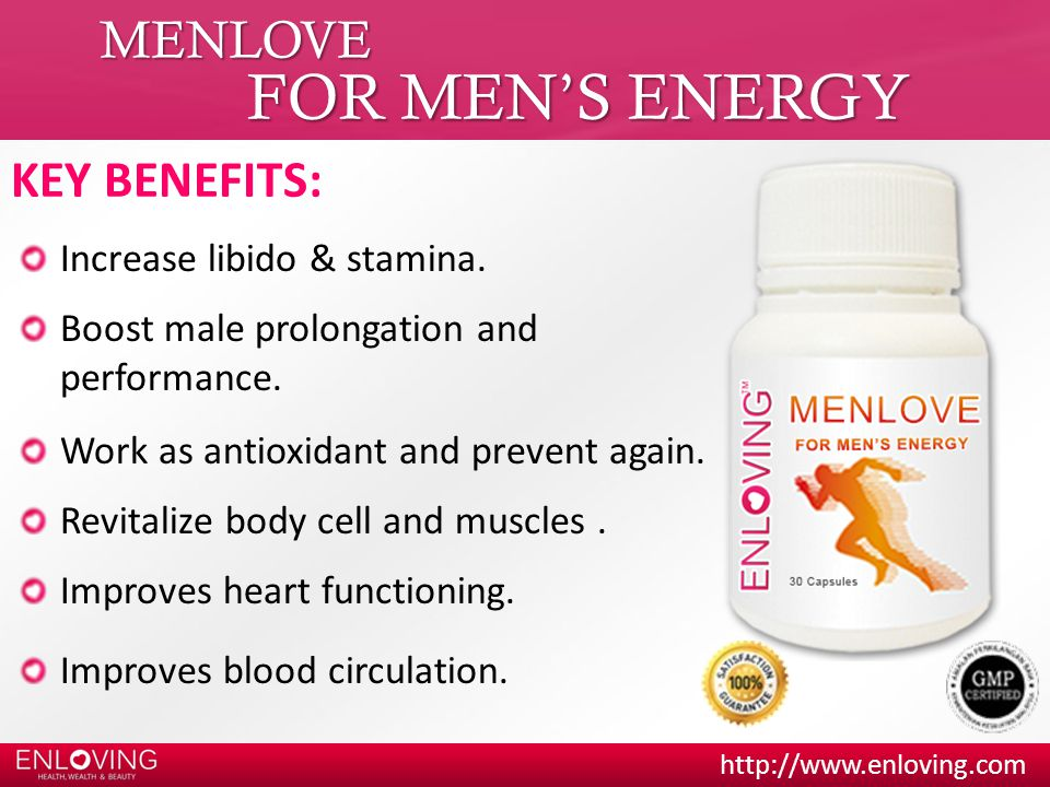 FOR MEN'S ENERGY MENLOVE KEY BENEFITS: Increase libido & stamina.