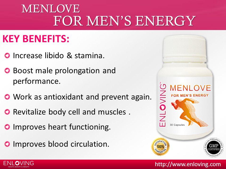 FOR MEN'S ENERGY MENLOVE KEY BENEFITS: Increase libido & stamina.