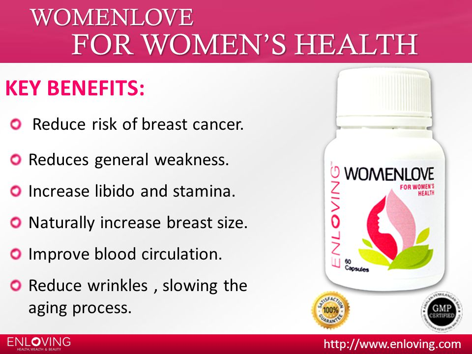 FOR WOMEN'S HEALTH WOMENLOVE KEY BENEFITS: