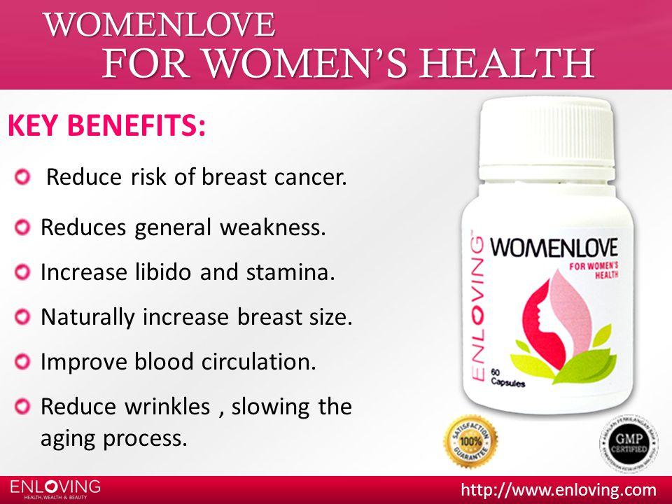 FOR WOMEN'S HEALTH WOMENLOVE KEY BENEFITS: