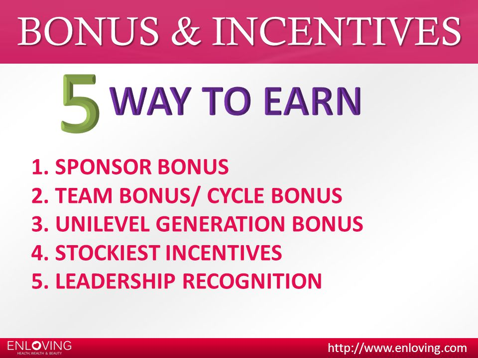 5 WAY TO EARN BONUS & INCENTIVES SPONSOR BONUS TEAM BONUS/ CYCLE BONUS