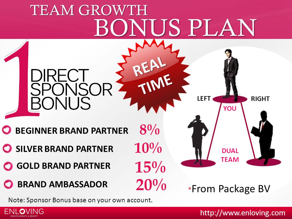 BONUS PLAN REAL TIME 15% 20% TEAM GROWTH 8% 10% BEGINNER BRAND PARTNER