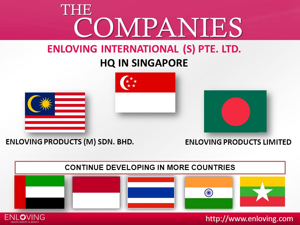 COMPANIES THE ENLOVING INTERNATIONAL (S) PTE. LTD. HQ IN SINGAPORE