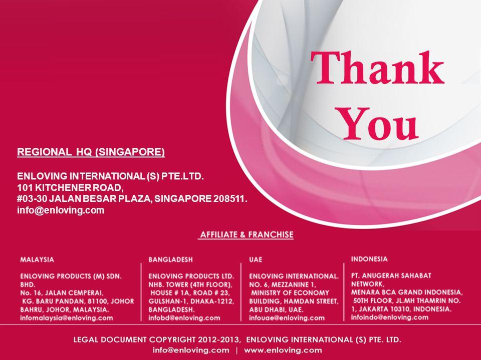Thank You REGIONAL HQ (SINGAPORE) ENLOVING INTERNATIONAL (S) PTE.LTD.