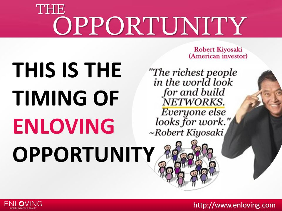 THE OPPORTUNITY THIS IS THE TIMING OF ENLOVING OPPORTUNITY