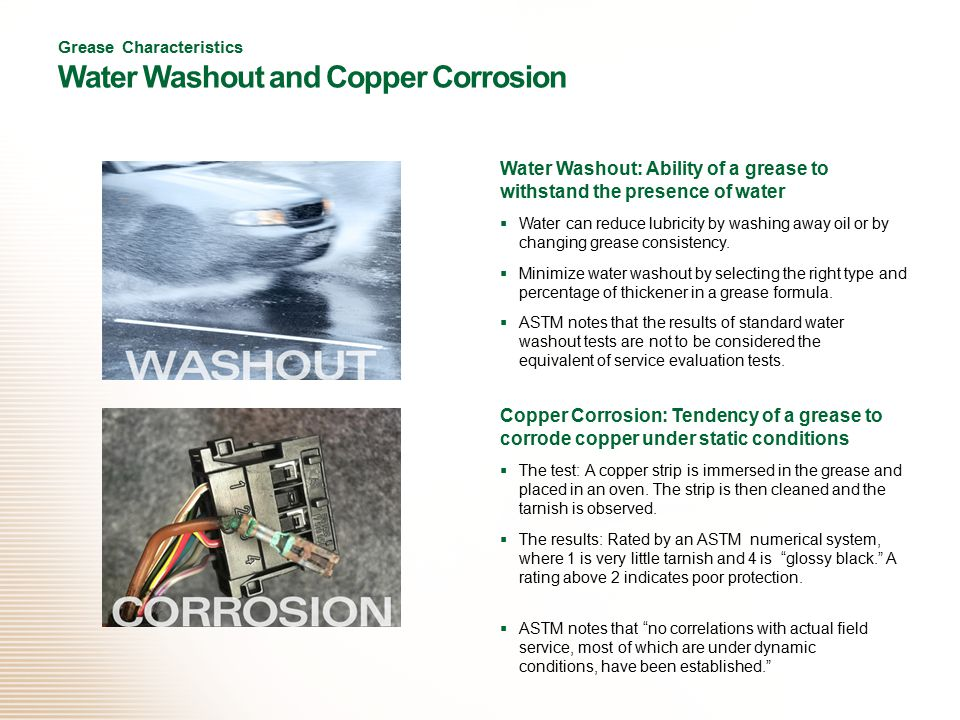 Grease Characteristics Water Washout and Copper Corrosion